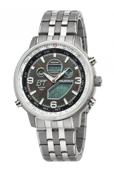 Eco Tech Time Solar Drive Funk Explorer Herrenuhr EGS-11285-52M World Timer Temperaturanzeige