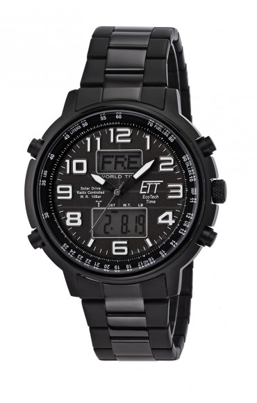 Eco Tech Time Solar Drive Funk Herrenuhr Hunter II EGS-11390-25M World Timer