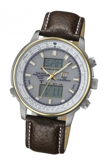 Solar Drive Funk Titan Herrenuhr, Aviation World Timer M EGT-11130-41L