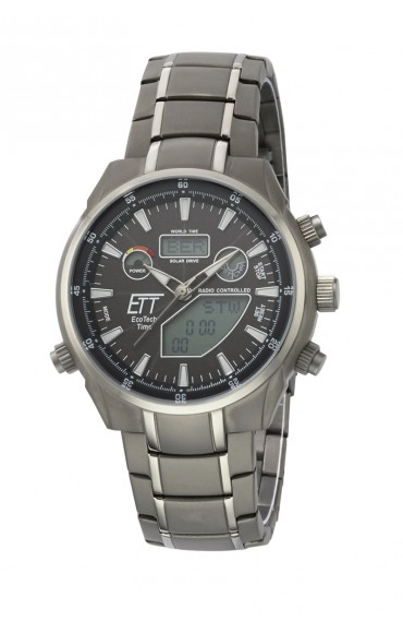 Eco Tech Time Solar Drive Funk Aquanaut II Herrenuhr EGT-11339-60M, World Timer