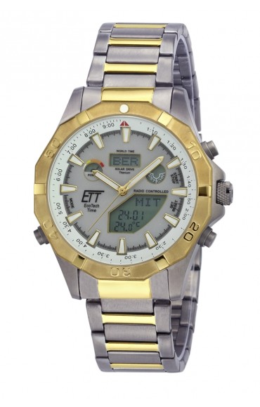 Eco Tech Time Solar Drive Funk Alaska Herrenuhr EGT-11358-55M World Timer
