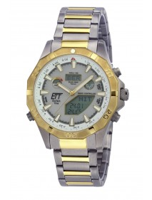 Eco Tech Time Solar Drive Funk Alaska Herrenuhr EGT-11358-55M World Timer Temperaturanzeige